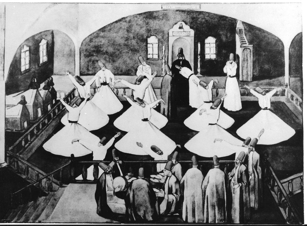 Gemälde vor 1925 eines Mukabele-Rituals mit Musikern und den Gräbern der verstorbenen Sheikhs.